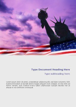 Statue of Liberty With American Flag Word Template Cover Page