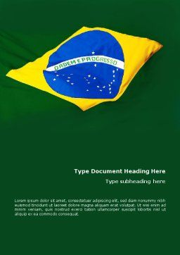Brazilian Flag Word Template, Cover Page, 01915, Flags/International — PoweredTemplate.com