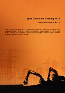 Silhouettes Of Excavators Word Template, Cover Page, 01940, Utilities/Industrial — PoweredTemplate.com