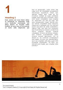 Silhouettes Of Excavators Word Template, First Inner Page, 01940, Utilities/Industrial — PoweredTemplate.com