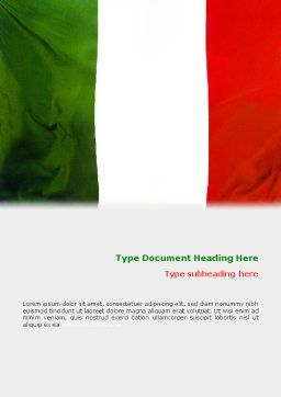 Italian Flag Word Template, Cover Page, 01964, Flags/International — PoweredTemplate.com