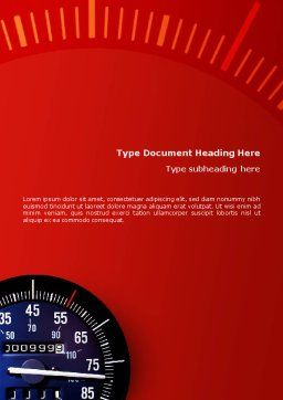 Speedometer Word Template, Cover Page, 01985, Sports — PoweredTemplate.com