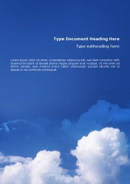 Cloudy Sky Word Template Cover Page