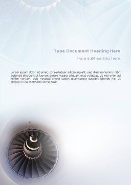 Turbojet Engine Word Template, Cover Page, 02008, Construction — PoweredTemplate.com