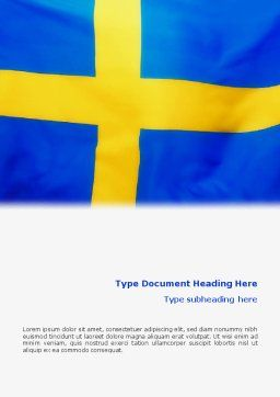 Swedish Flag Word Template Cover Page