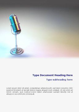 Microphone Word Template, Cover Page, 02027, 3D — PoweredTemplate.com