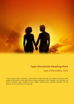 Couple Walking To Sunset Word Template Cover Page