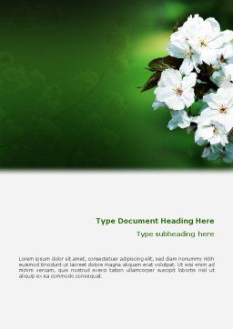 Blooming Cherry Tree In The Spring Word Template Cover Page