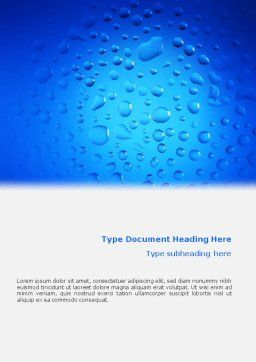 Drops Word Template, Cover Page, 02066, Abstract/Textures — PoweredTemplate.com