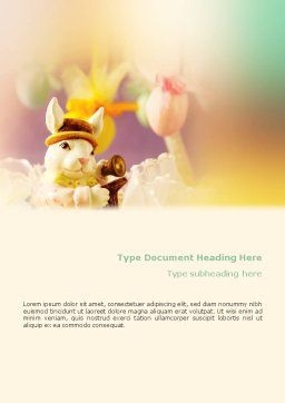 Easter Rabbit Word Template, Cover Page, 02078, Holiday/Special Occasion — PoweredTemplate.com