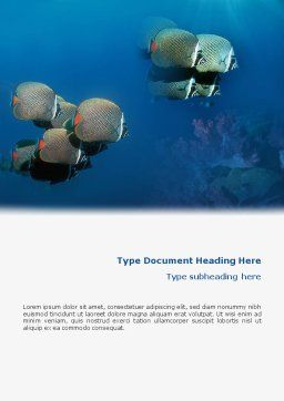 Fishing Life Underwater Word Template, Cover Page, 02089, Nature & Environment — PoweredTemplate.com