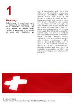 Flag of Switzerland Word Template, First Inner Page, 02090, Flags/International — PoweredTemplate.com