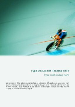 Track Cycling Word Template, Cover Page, 02103, Sports — PoweredTemplate.com