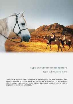Riding Word Template, Cover Page, 02108, Agriculture and Animals — PoweredTemplate.com