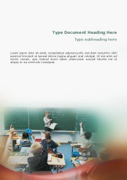 School Education Word Template, Cover Page, 02109, Education & Training — PoweredTemplate.com