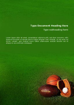 Ball Game Word Template, Cover Page, 02110, Sports — PoweredTemplate.com