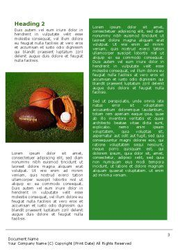 Ball Game Word Template, Second Inner Page, 02110, Sports — PoweredTemplate.com