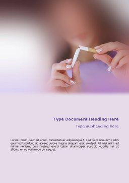 Quit Smoking Word Template, Cover Page, 02132, Medical — PoweredTemplate.com