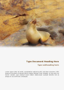 Sea Lion Word Template, Cover Page, 02135, Agriculture and Animals — PoweredTemplate.com