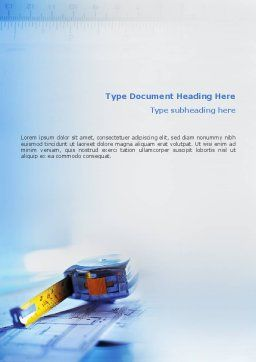 Tape Line Word Template, Cover Page, 02161, Construction — PoweredTemplate.com