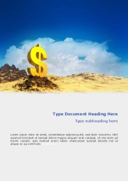 Dollar In Desert Word Template, Cover Page, 02172, Financial/Accounting — PoweredTemplate.com