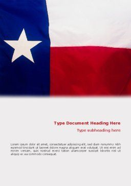 Flag of Texas Word Template, Cover Page, 02181, Flags/International — PoweredTemplate.com