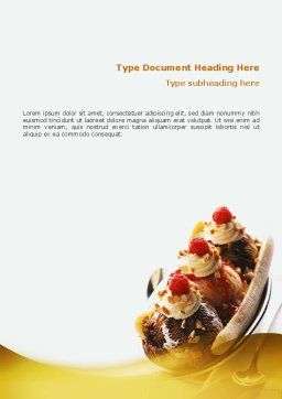 Banana Split Word Template, Cover Page, 02192, Food & Beverage — PoweredTemplate.com