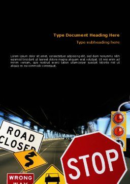 Road Sign Word Template Cover Page