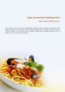 Spaghetti Word Template, Cover Page, 02199, Food & Beverage — PoweredTemplate.com