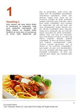 Spaghetti Word Template, First Inner Page, 02199, Food & Beverage — PoweredTemplate.com