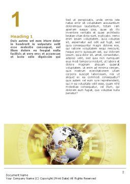 Globe On A Compass Word Template, First Inner Page, 02200, Global — PoweredTemplate.com