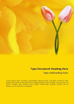 Tulip On A Yellow Word Template, Cover Page, 02206, Holiday/Special Occasion — PoweredTemplate.com