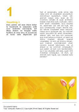 Tulip On A Yellow Word Template, First Inner Page, 02206, Holiday/Special Occasion — PoweredTemplate.com
