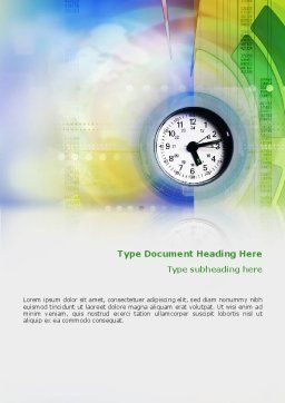 Clock Face Word Template, Cover Page, 02210, Business — PoweredTemplate.com