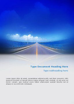 Highway In A Blue Distance Word Template, Cover Page, 02214, Construction — PoweredTemplate.com