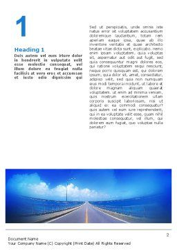 Highway In A Blue Distance Word Template, First Inner Page, 02214, Construction — PoweredTemplate.com