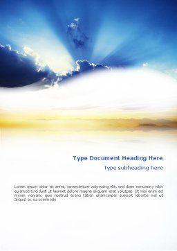 Blue Sky With Sunbeams Word Template, Cover Page, 02216, Religious/Spiritual — PoweredTemplate.com