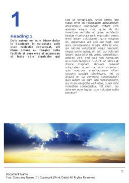 Blue Sky With Sunbeams Word Template First Inner Page