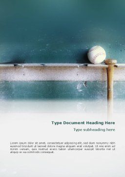Baseball Ball And Bat Word Template, Cover Page, 02220, Sports — PoweredTemplate.com
