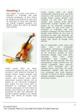 Violin And Yellow Flowers Word Template Second Inner Page