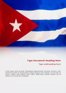 Flag of Cuba Word Template, Cover Page, 02229, Flags/International — PoweredTemplate.com