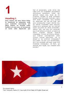 Flag of Cuba Word Template, First Inner Page, 02229, Flags/International — PoweredTemplate.com