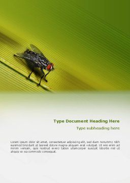 Sitting Fly Word Template, Cover Page, 02235, Nature & Environment — PoweredTemplate.com
