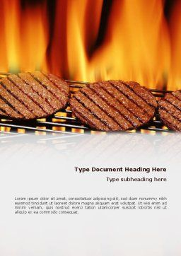 Burgers On Grill Word Template, Cover Page, 02237, Food & Beverage — PoweredTemplate.com