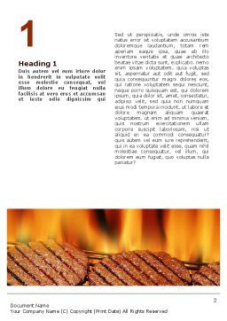 Burgers On Grill Word Template, First Inner Page, 02237, Food & Beverage — PoweredTemplate.com