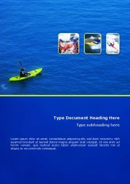 Kayaking Word Template, Cover Page, 02239, Sports — PoweredTemplate.com