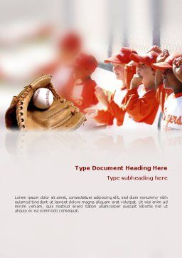 School Baseball Word Template, Cover Page, 02242, Sports — PoweredTemplate.com
