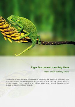 Chameleon Lizard Word Template Cover Page