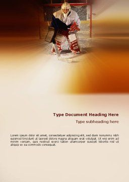 Ice Hockey Goalkeeper Word Template, Cover Page, 02255, Sports — PoweredTemplate.com