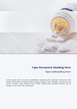 Bottle Of Tablets Word Template, Cover Page, 02269, Medical — PoweredTemplate.com
